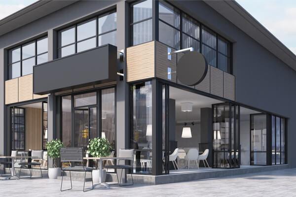 Proyecto nuevo negro de fachada de edificio